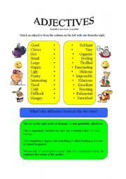 English Worksheet: Adjectives - Gradable and Ungradable