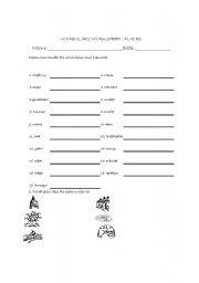 English worksheet: PLACES