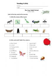 English Worksheet: The Very Quiet Cricket - Reading worksheet