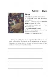 English Worksheet: transition words- chain activity.