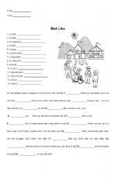 English Worksheet: Mad Libs: At the Amusement Park
