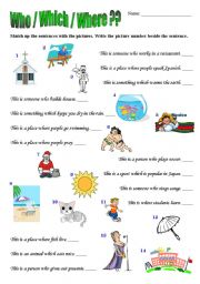English Worksheet: Relative Pronouns - Who, Which and Where