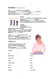 English Worksheet: Britney Spears´s Sometimes Song Activity