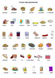 English Worksheets: Foods and Beverages