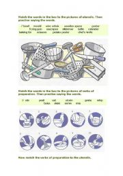 Kitchen utensils and verbs