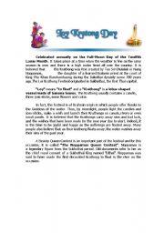 English Worksheet: Loykrathong Day in Thailand