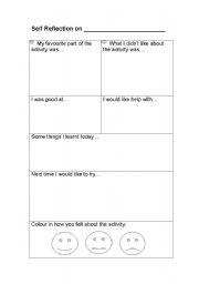 Self Reflection Assessment Sheet Esl Worksheet By Catamber