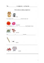 English Worksheet: animals comparison