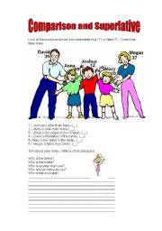 Comparative and superlative worksheet to practise comparative and