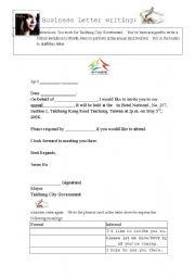 English worksheets invitation letter english worksheet invitation letter stopboris Images