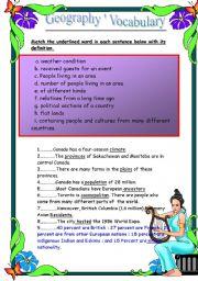 English Worksheet: Geography� Vocaulary