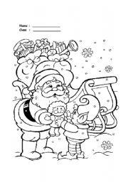 English Worksheet: Santa claus coloring collections