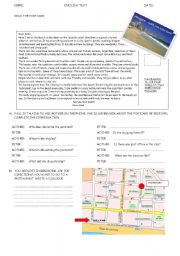 English Worksheets: EXAM: ON HOLIDAYS (Reading comprehension)