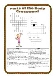 English Worksheets: Parts of the body Crossword - intermediate