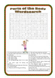 English Worksheets: Parts of the body Wordsearch - intermediate