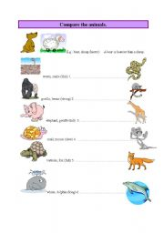 English Worksheet: Compare the animals -Comparative
