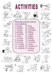 English worksheet: Activities (1 of  2)