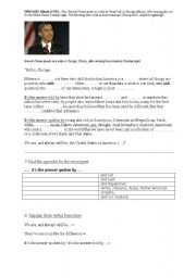 English Worksheet: hello Chicago! =speech by B.Obama on November 4th 2008