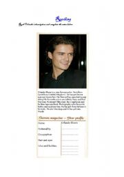 English Worksheets: Orlando Bloom´s reading comprehension