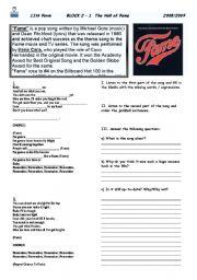 English Worksheet: Fame- song