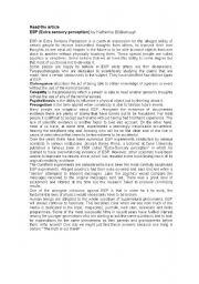 English Worksheets: Extra sensory perception