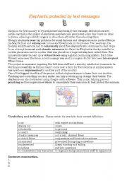 English Worksheet: Kenya - elephants