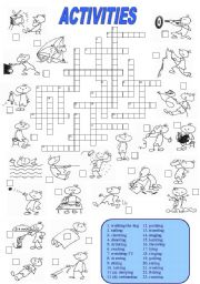 English Worksheet: Activities Crossword (1 of 2)