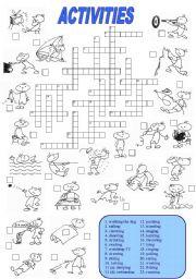 English Worksheets: Activities Crossword (1 of 2)
