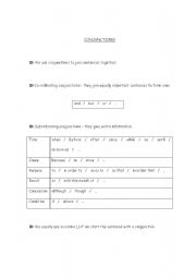 English Worksheets: Conjunctions - rules and exercises