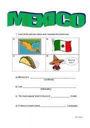 English Worksheet: MEXICO - Guided Writing
