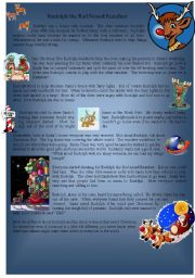 English Worksheet: Rudolph the Rednose Reindeer Story
