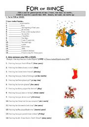 English Worksheets: FOR or SINCE