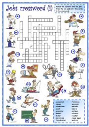 English Worksheets: Jobs crossword (1 of 3)