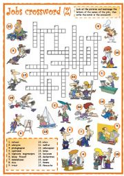 English Worksheets: Jobs crossword (2 of 3)