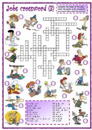 English Worksheets: Jobs crossword (3 of 3)