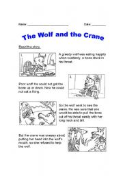 English Worksheets: The Wolf and the Crane