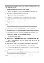 English Worksheets: Understanding Sentences  True-False