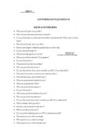 your likes and dislikes dating question