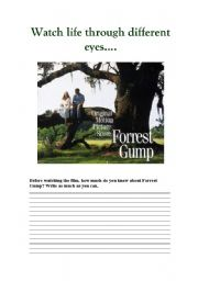 English Worksheets: FORREST GUMP PART 1