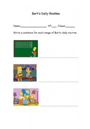 English worksheet: Bart´s routine