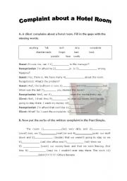 English Worksheet: Complaints about a hotel room