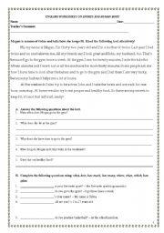 English Worksheet: Sports and Human body-written test