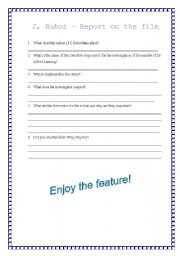 English Worksheet: Questions on the film- I, Robot
