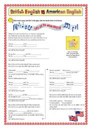 English Worksheets: British English / American English - SONG