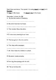 English Worksheet: don�t and doesn�t