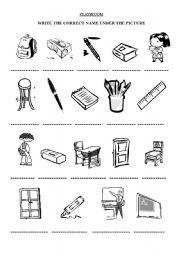 Classroom Objects - worksheet by Evelyn Reategui Zirena