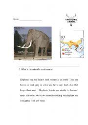 English Worksheets: Endangered Asian Elephant part 1