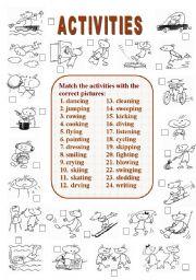 English worksheet: Activities (2 of  2)
