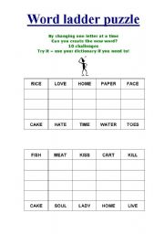 graphic about Word Ladder Printable named English worksheets: Term ladder puzzle (10 puzzles)