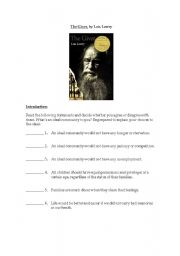 english worksheet the giver by lois lowry. Black Bedroom Furniture Sets. Home Design Ideas